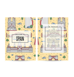 spain traveling banners set in linear style vector image