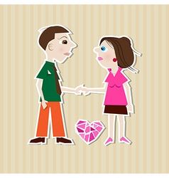 Paper Man Woman Heart on Cardboard Background vector image