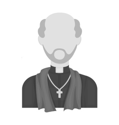 Priest icon in monochrome style isolated on white vector image