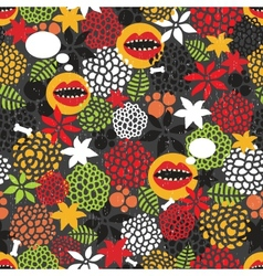 Seamless pattern with crazy mouth vector image