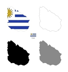 Uruguay Kingdom country black silhouette and with vector image vector image