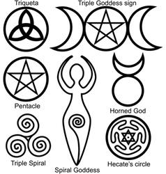 wiccan symbols set vector image vector image