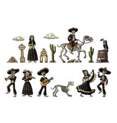 Dia de los muertos the skeleton in mexican vector