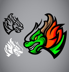 dragon green head emblem logo vector image vector image