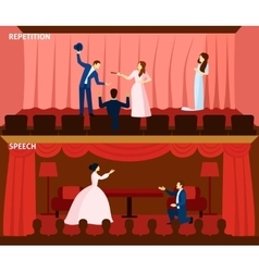Theater performance 2 flat banners composition vector image vector image