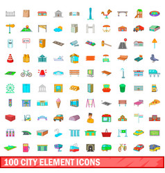 100 city element icons set cartoon style vector