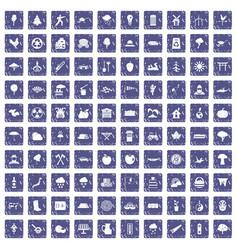 100 tree icons set grunge sapphire vector