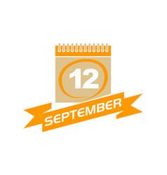 12 september calendar with ribbon vector