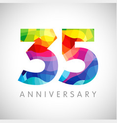 35 anniversary colorful facet logo vector image