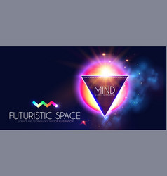 Abstract geomrtic banner with neon lights trendy vector