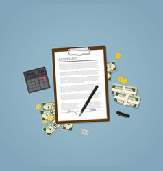 agreement with money vector image