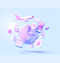 airplane travel around world vector image