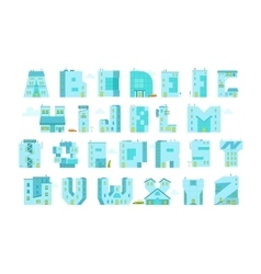 Alphabet letters-buildings You can write any word vector image