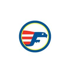 American Eagle Flying Flag Side Circle Retro vector