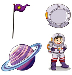 An astronaut a planet a banner and a helmet vector