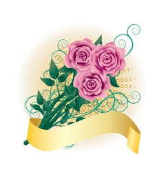 Card with pink roses2 vector