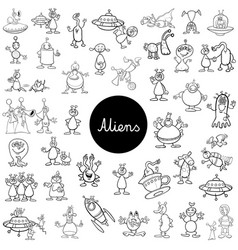 Cartoon alien fantasy characters big set vector