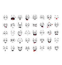 cartoon comics faces set smiling crying faces vector image