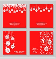 christmas greeting cards with baubles ball set vector image