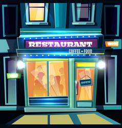 City restaurant facade at evening cartoon vector