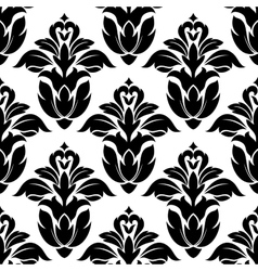 Classic floral seamless pattern with black flowers vector