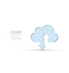 Cloud technology polygonal wireframe art looks vector