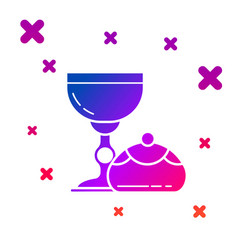 Color jewish goblet and hanukkah sufganiyot icon vector