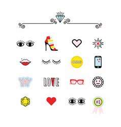 Colorful modern retro feminine fun icons set vector