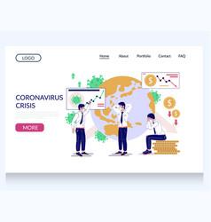 Coronavirus crisis website landing page vector