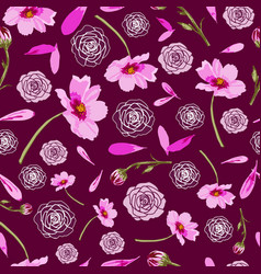 Cosmos flowers and roses on maroon background vector