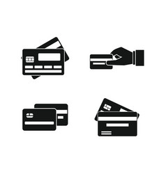 credit card icon set simple style vector image
