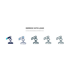 Derrick with load icon in different style two vector
