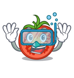 Diving cartoon tomato slices on chopping board vector