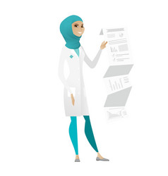 Doctor in medical gown giving presentation vector