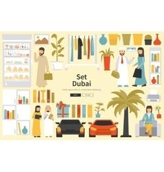 Dubai Big Collection in flat design concept vector