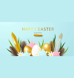 festive banner with easter eggs feathers vector image