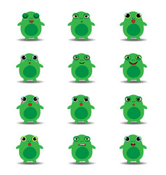 flat emoji collection of funny frog vector image