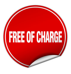 Free of charge round red sticker isolated on white vector