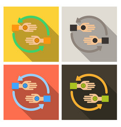 Friendship circle on color background hands vector