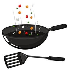 Frying pan and black spatula vector