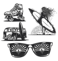 girl with board sunglasses car etc vector image