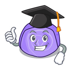 Graduation blueberry roll cake character cartoon vector