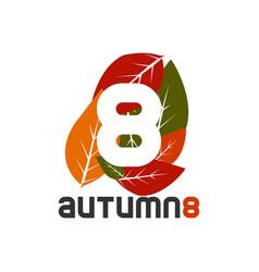 Graphic elegant leaf autumn season symbol vector