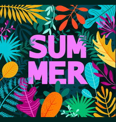 greeting summer 2019 card on tropical leaves vector image