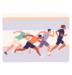 group athletes running fast in training or vector image
