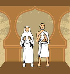 Hajj pilgrim praying vector