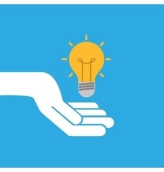 Hand hold icon bulb idea design flat isolated vector