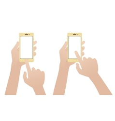 Hand holding gold smartphone touching blank white vector image