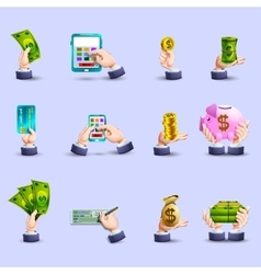 Hands payment flat icons set vector