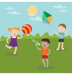 Happy Children Playing on the Nature vector